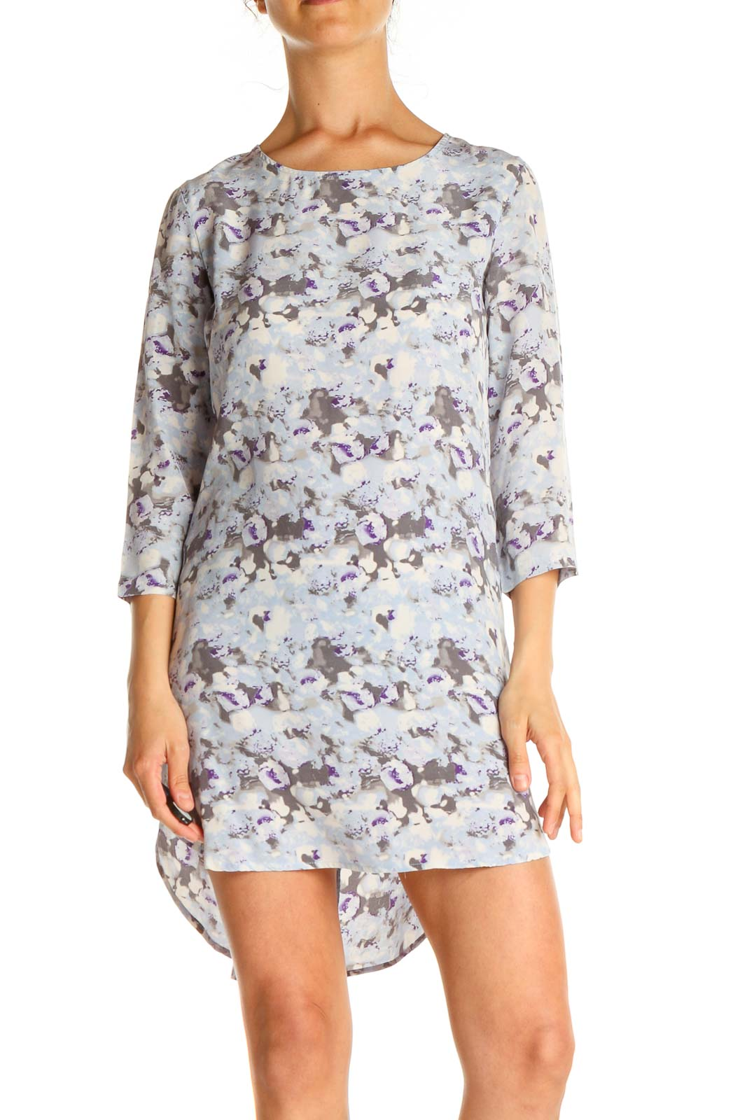 Gray Blue Printed Classic A-Line Dress Front