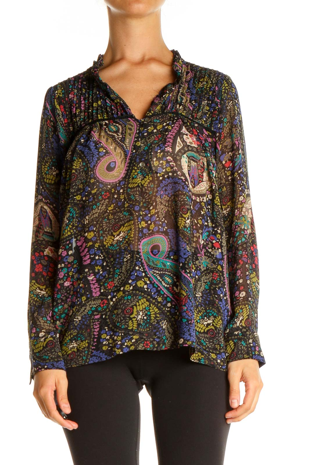 Brown Paisley Bohemian Shirt Front