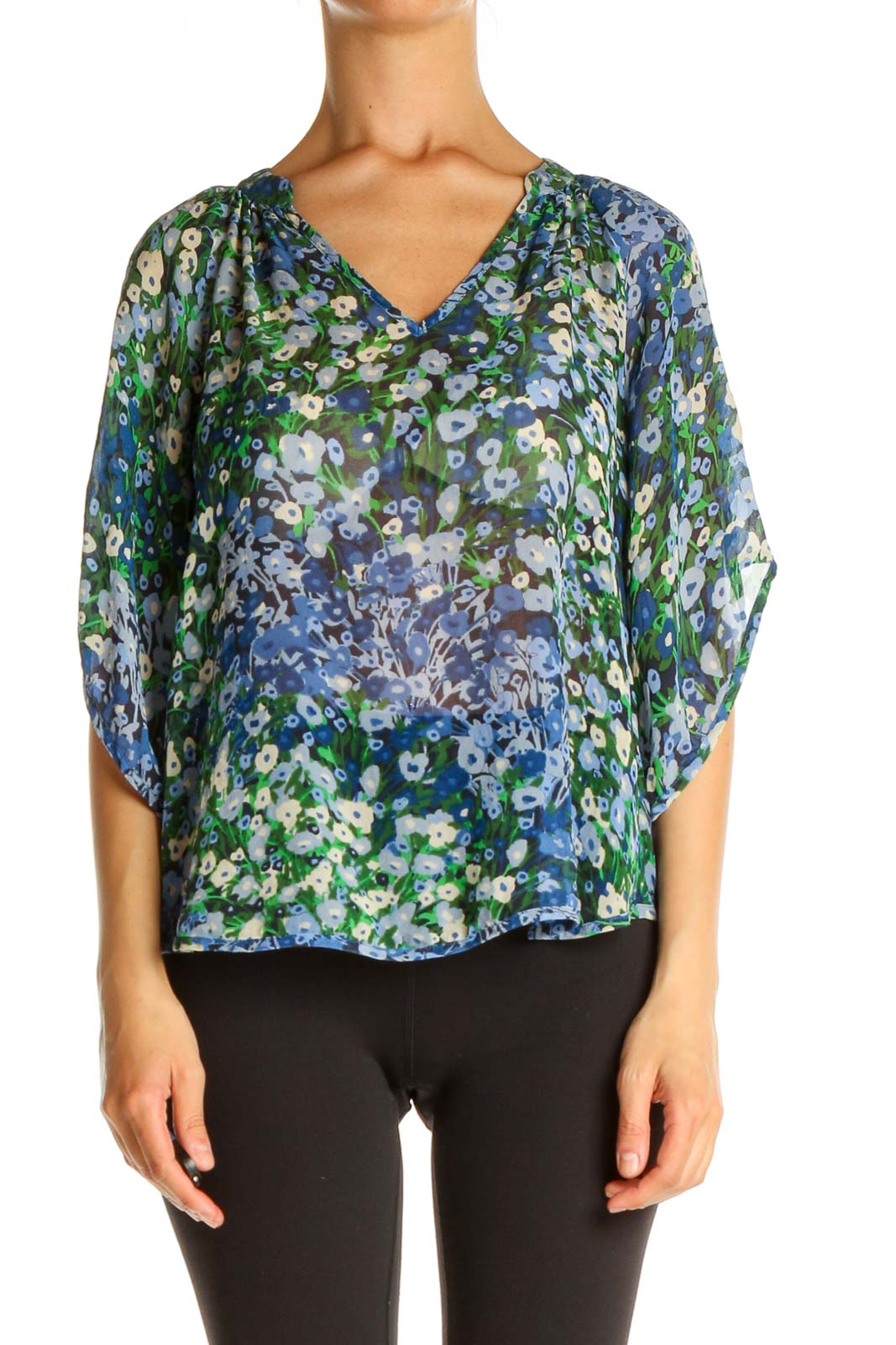 Blue Floral Print All Day Wear Blouse Front