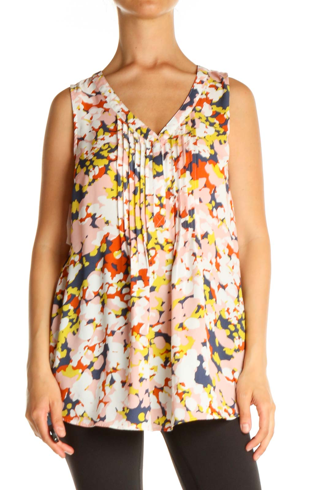 Pink Floral Print Holiday Blouse Front
