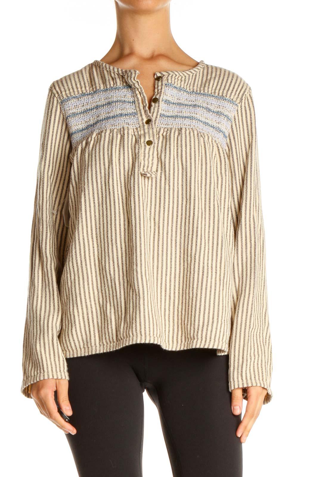 Beige Striped Bohemian Shirt Front