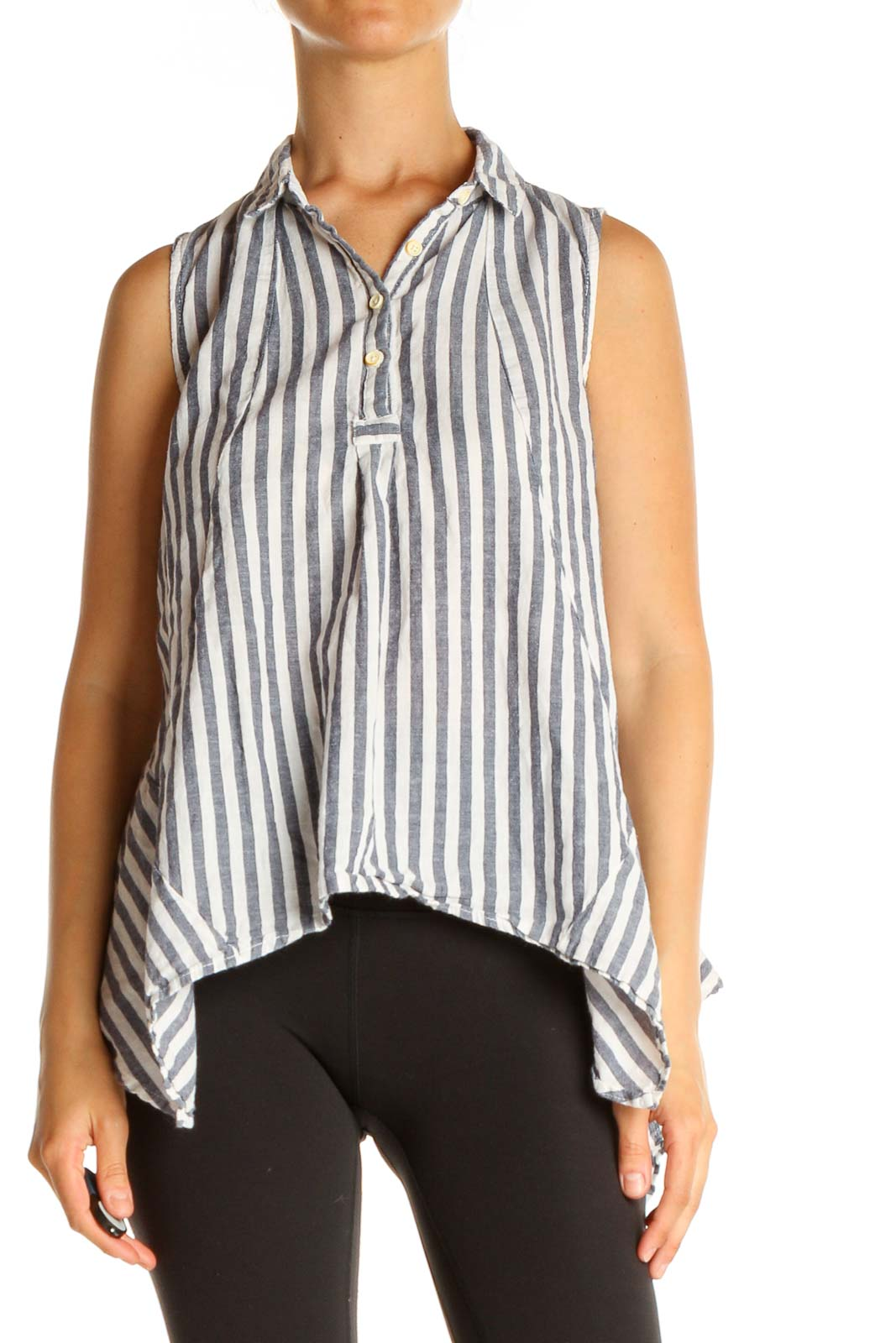 White Striped Holiday Shirt Front