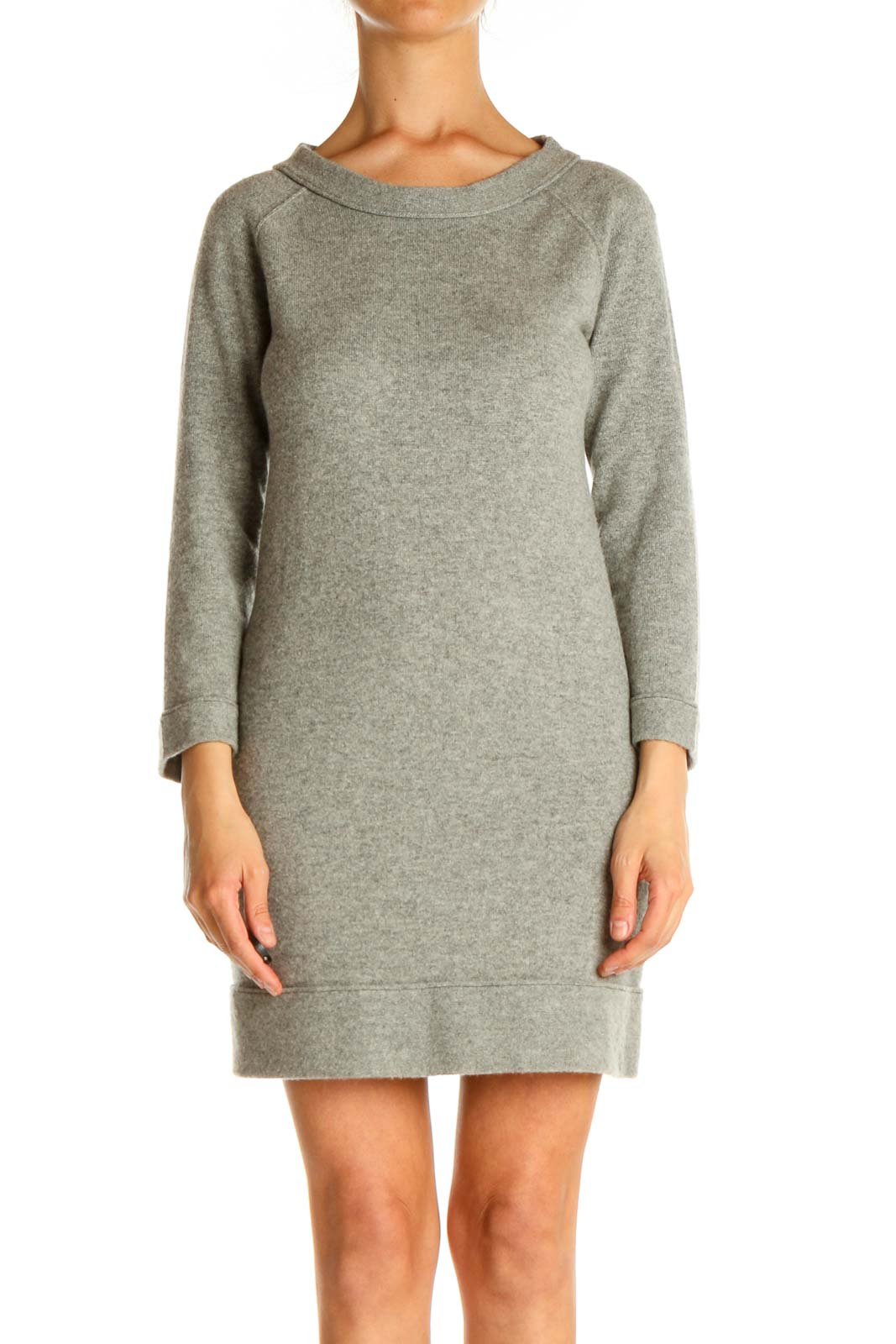 Gray Day Shift Dress Front