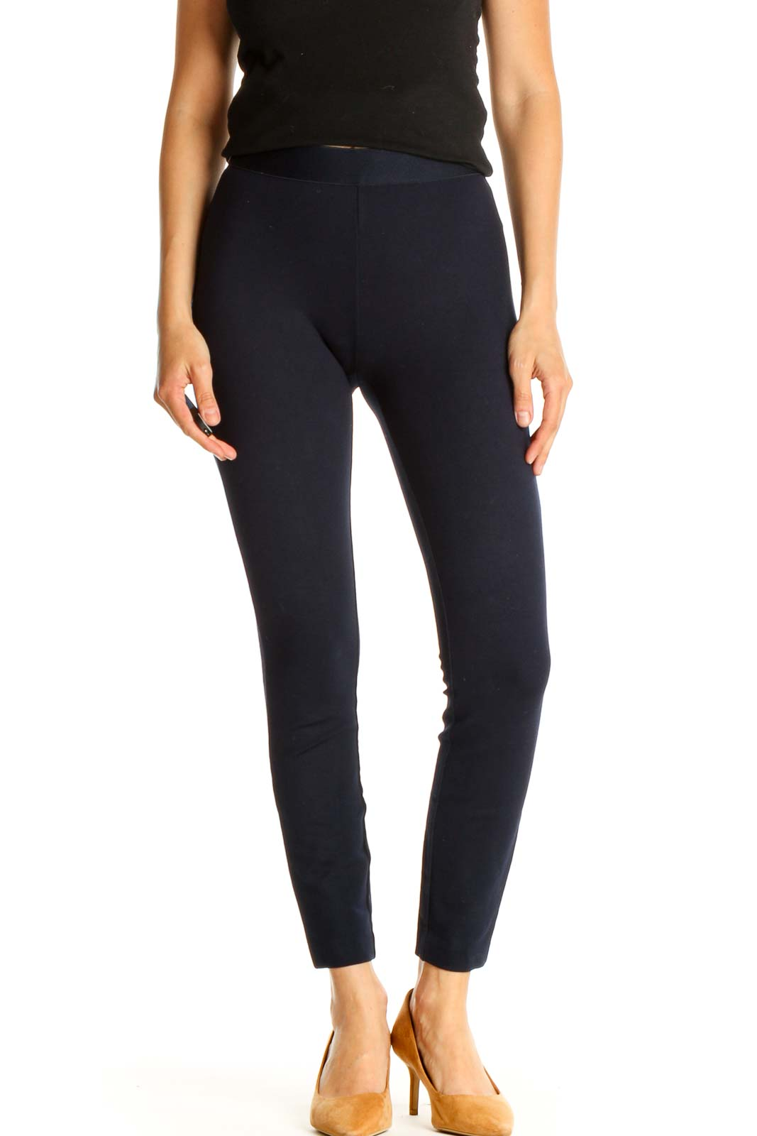 Blue Solid All Day Wear Leggings Front