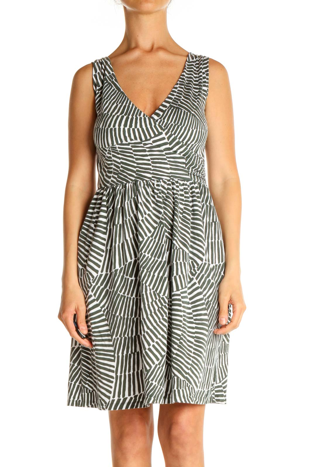 White Printed Day Fit & Flare Dress Front