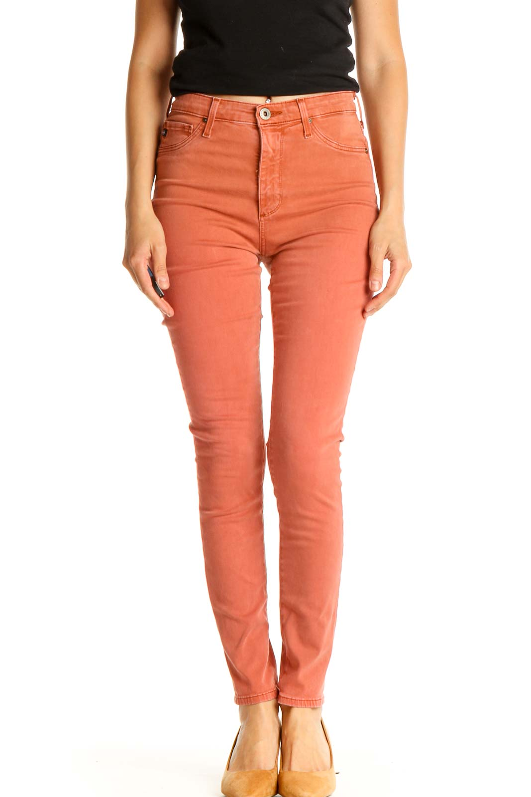 Orange Solid All Day Wear Pants Front