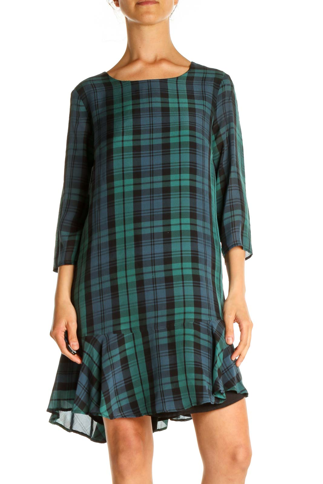 Green Checkered Day A-Line Dress Front