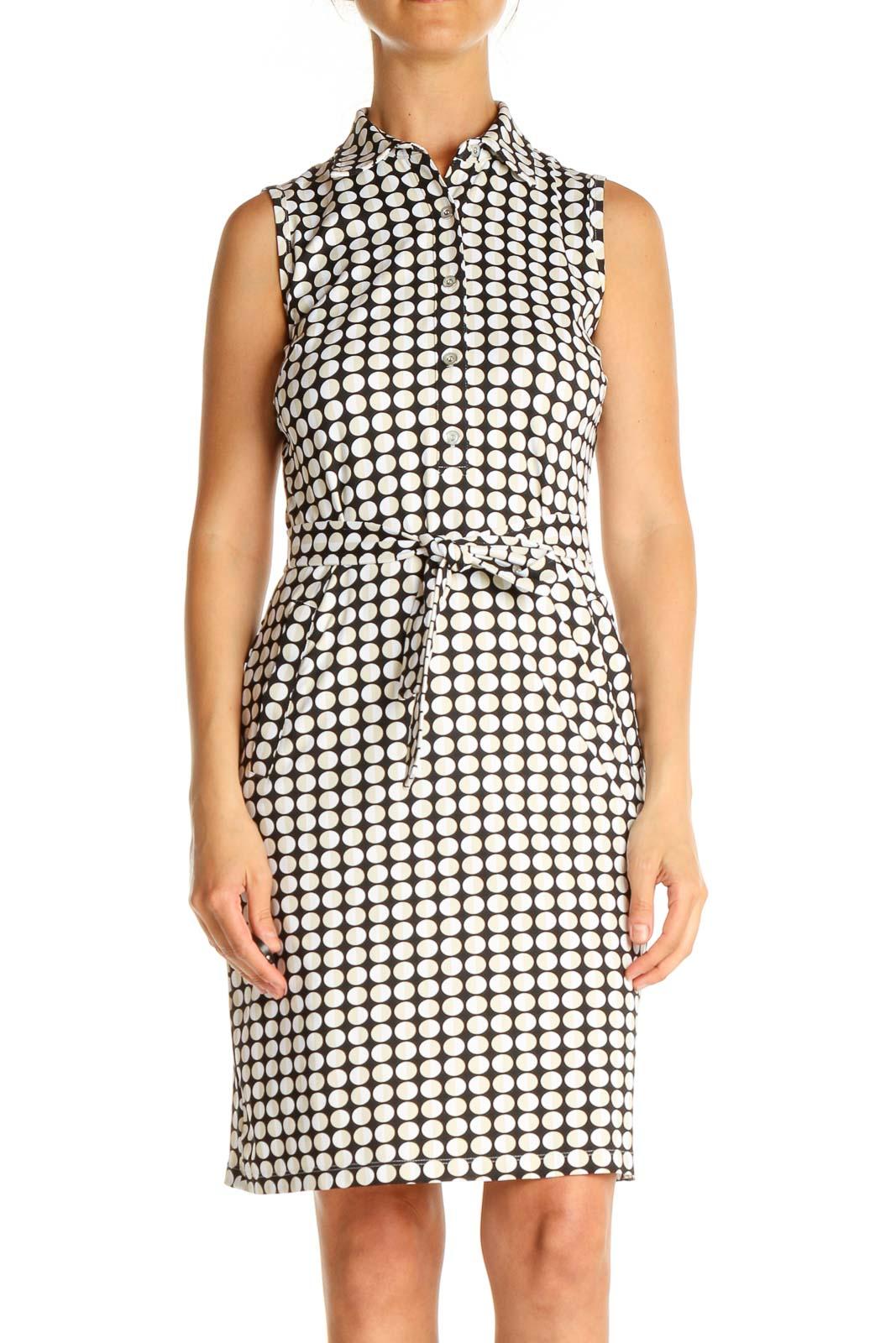 Black Geometric Print Classic Sheath Dress Front