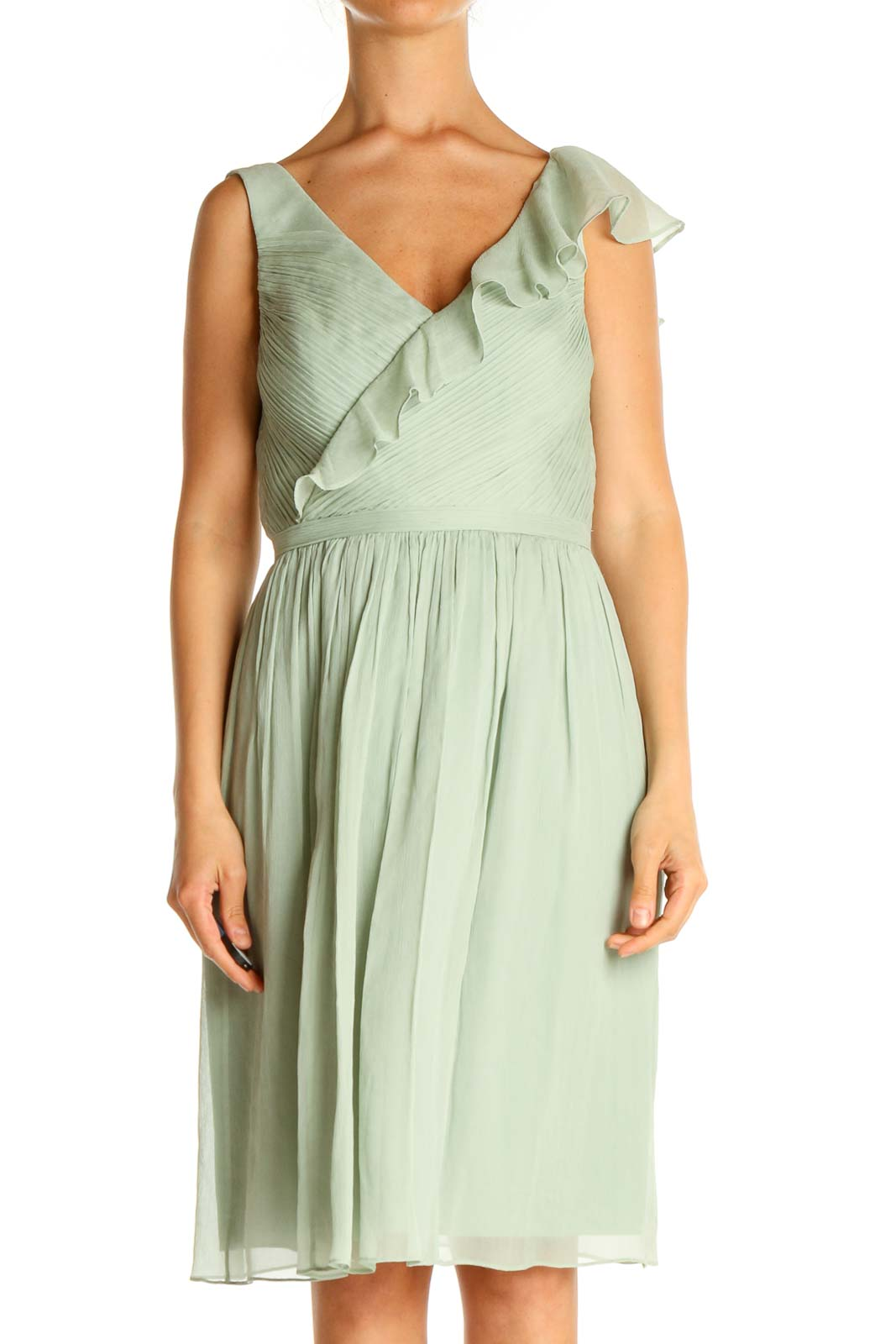 Green Solid Holiday Fit & Flare Dress Front