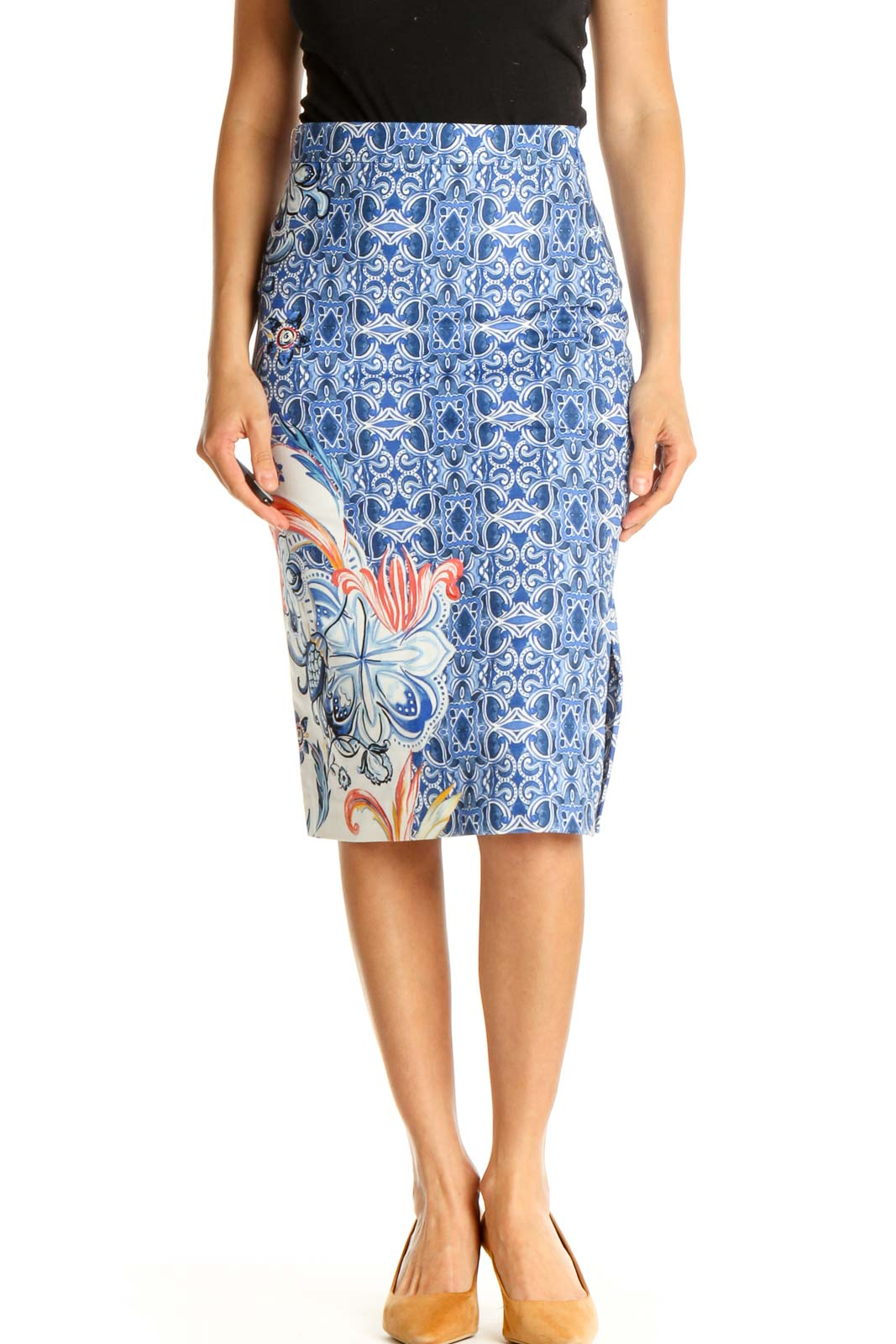 Blue Printed Chic Pencil Skirt Front
