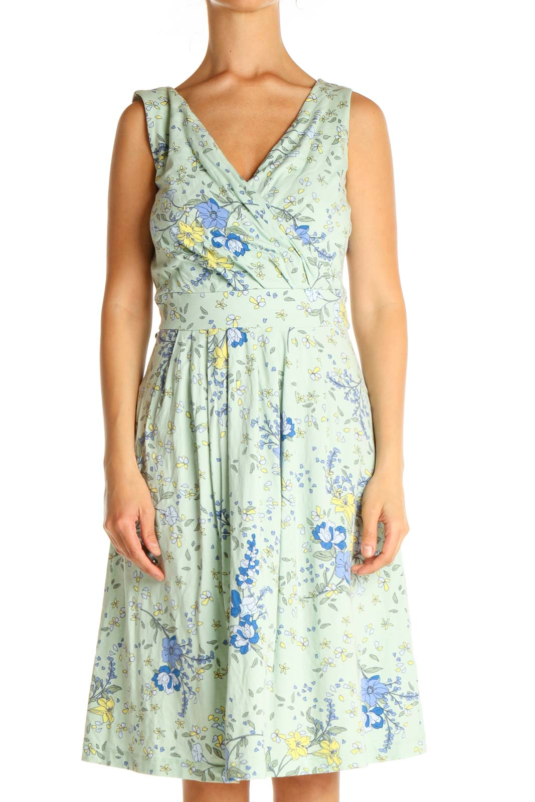 Green Floral Print Casual Fit & Flare Dress Front