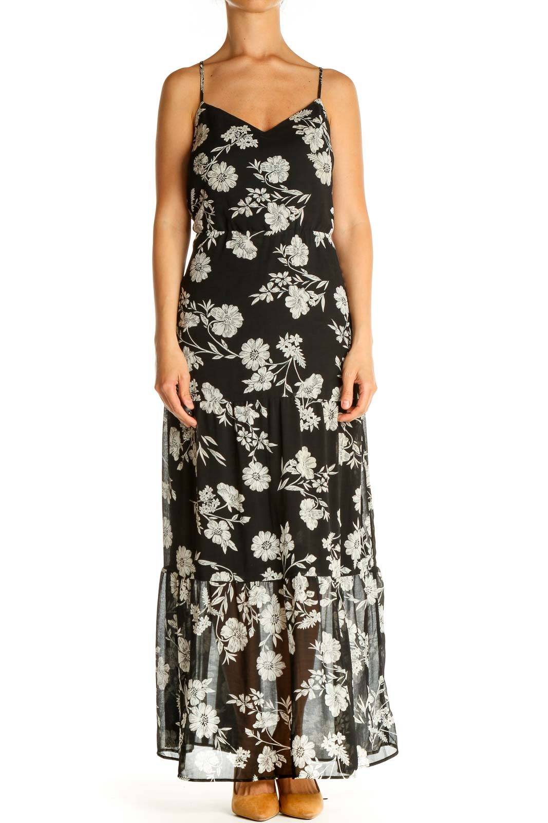 Black Floral Print Day Maxi Dress Front