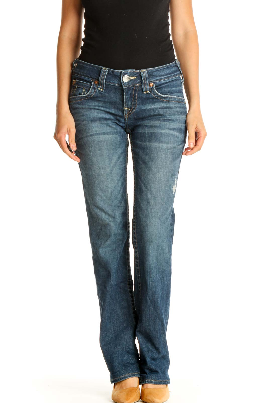 Blue Low Rise Straight Leg Jeans Front