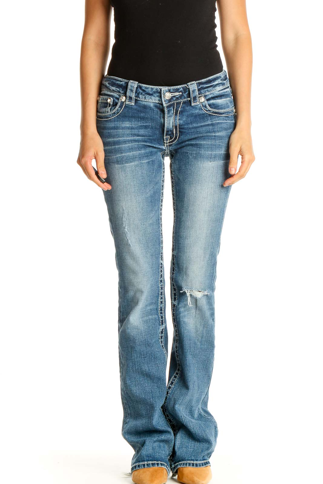 Blue Low Rise Embellished Jeans Front