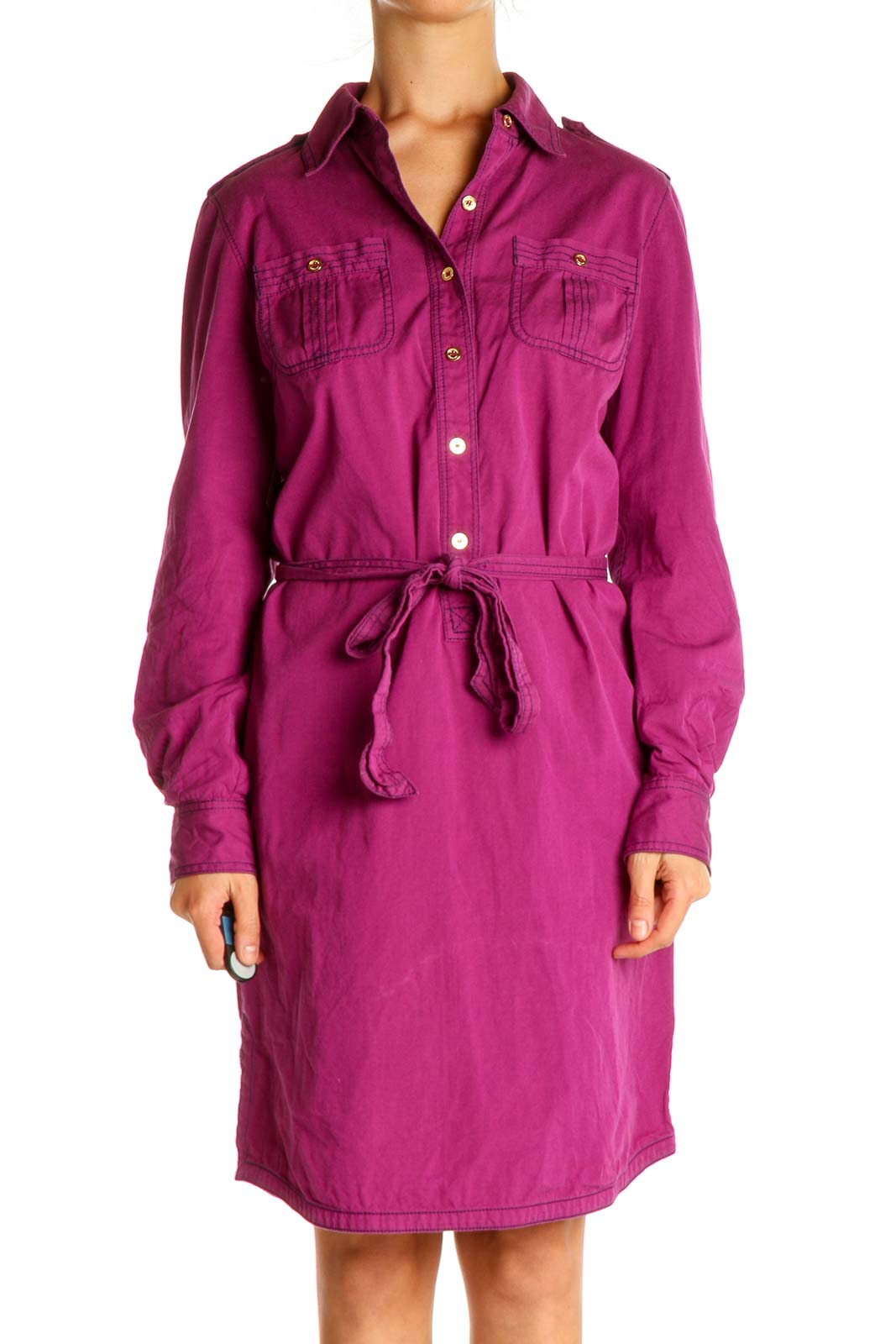 Pink Solid Work Shift Dress Front