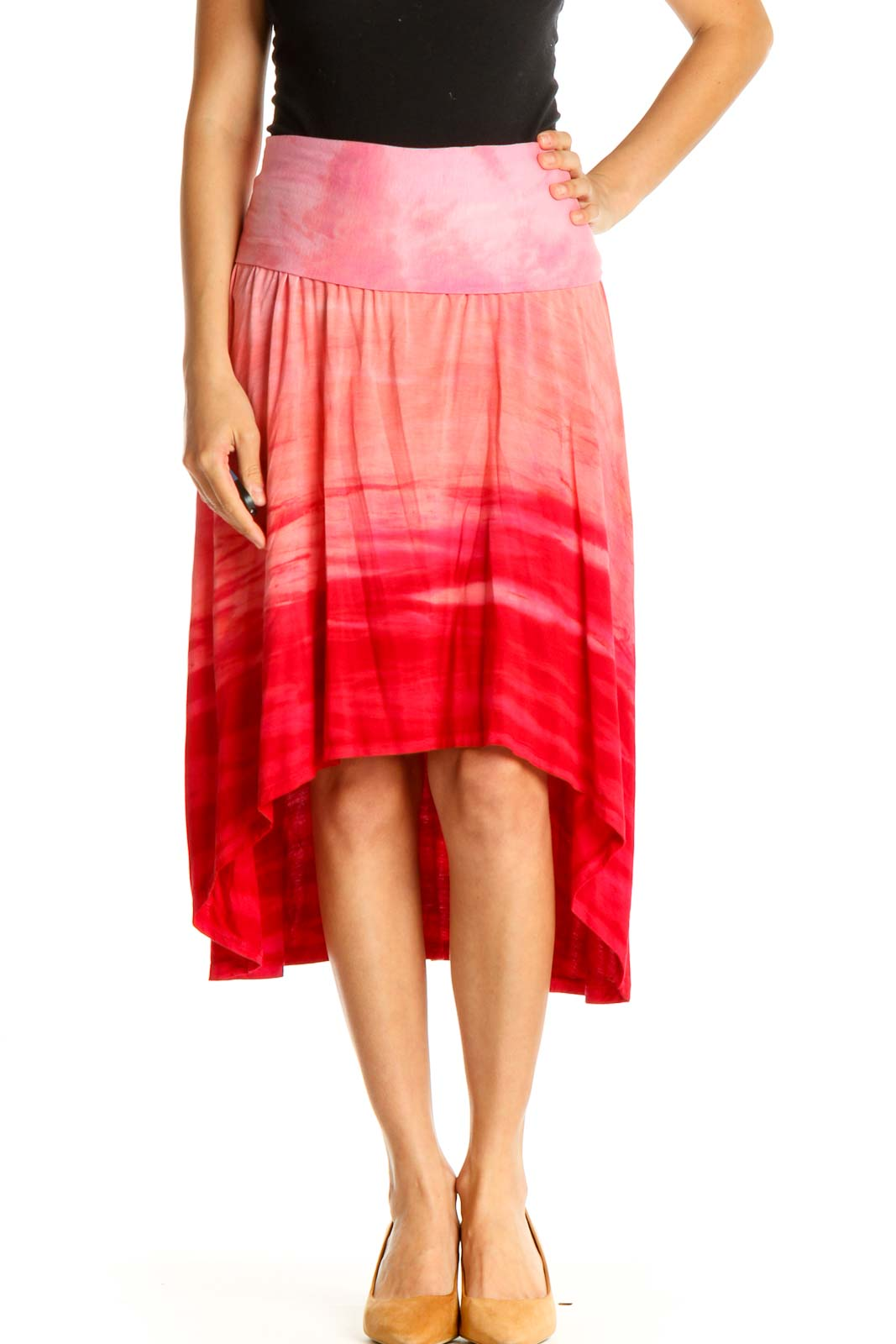 Pink Printed Casual Flared Skirt Front