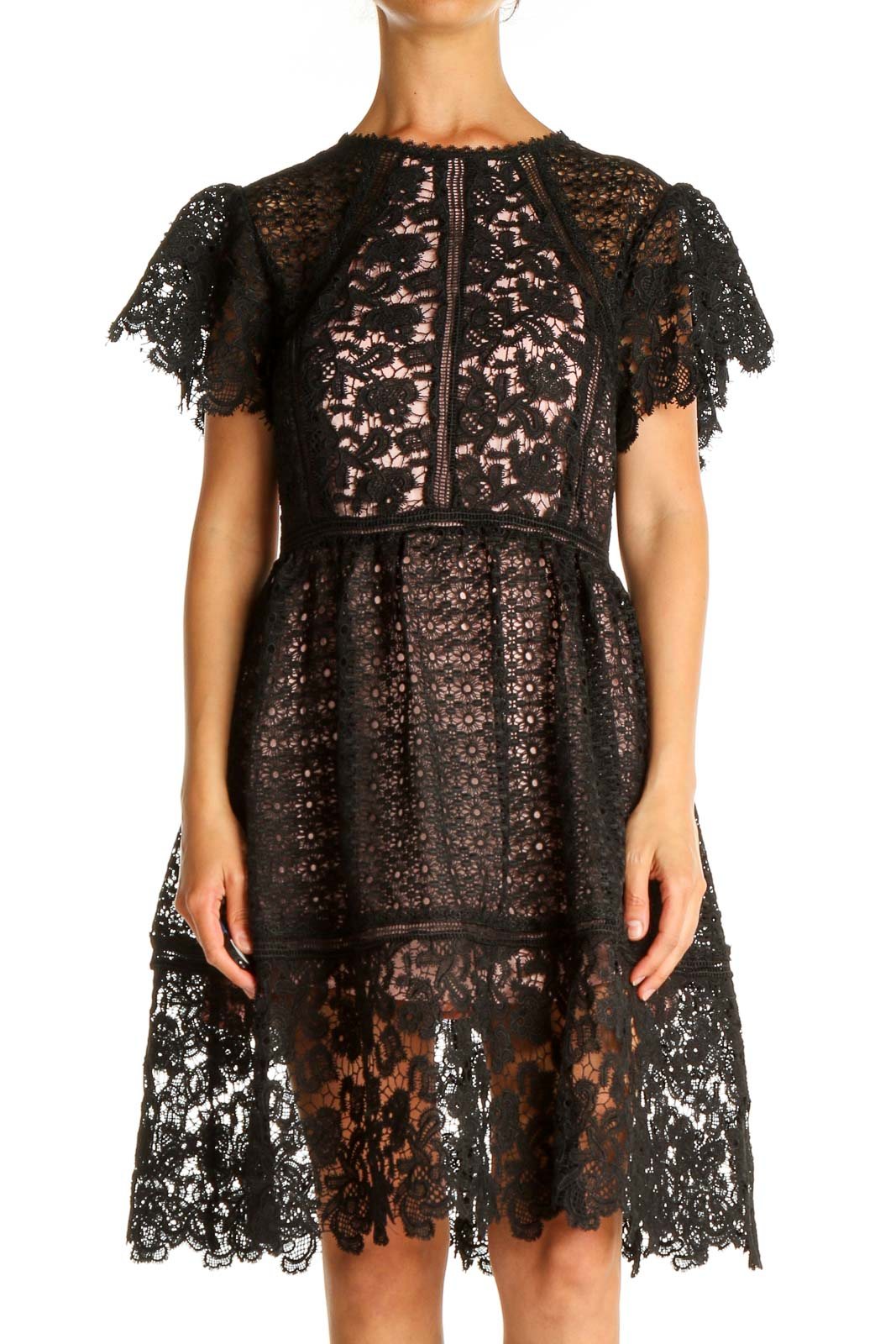 Black Lace Fit & Flare Dress Front