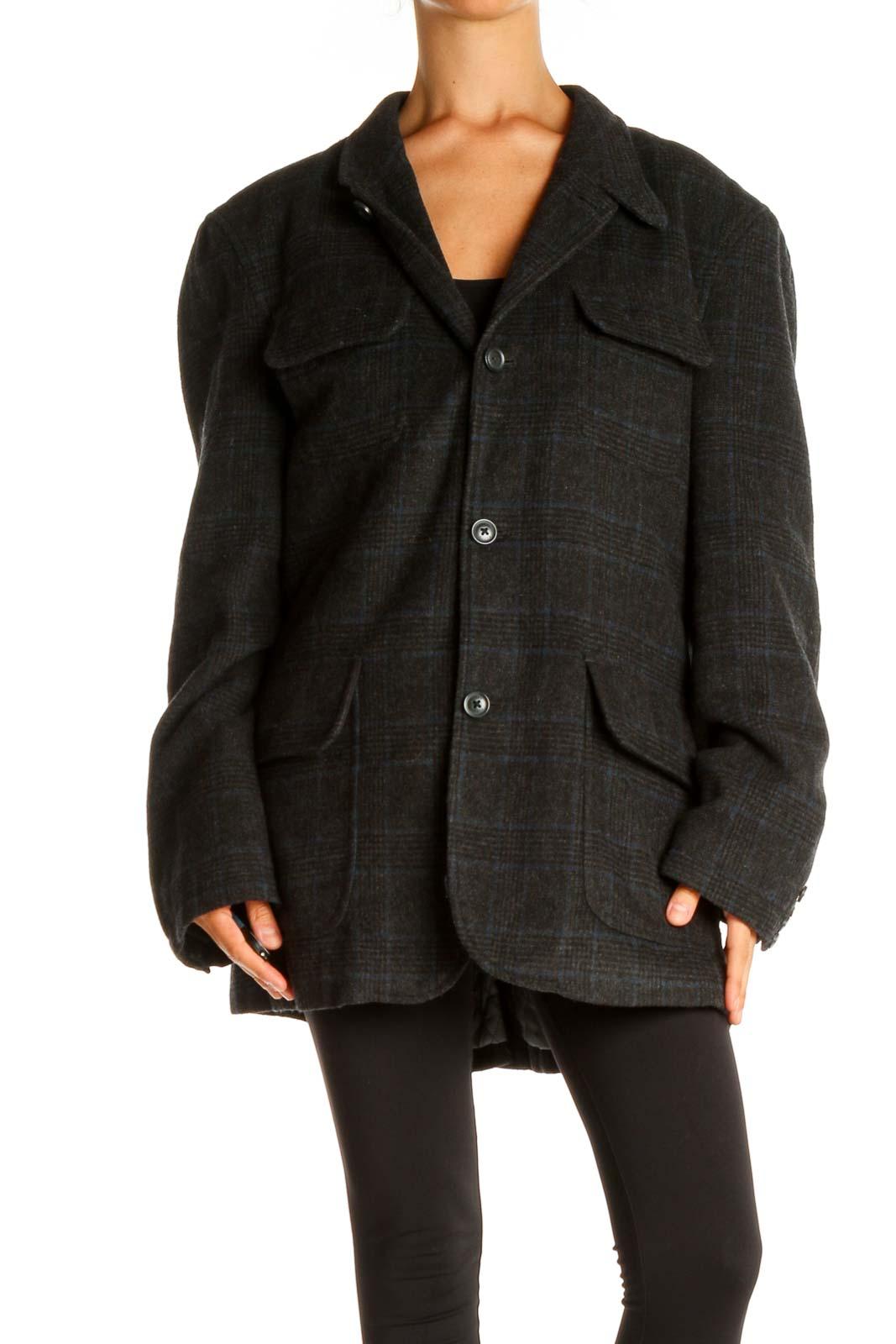 Black Plaid Jacket Front