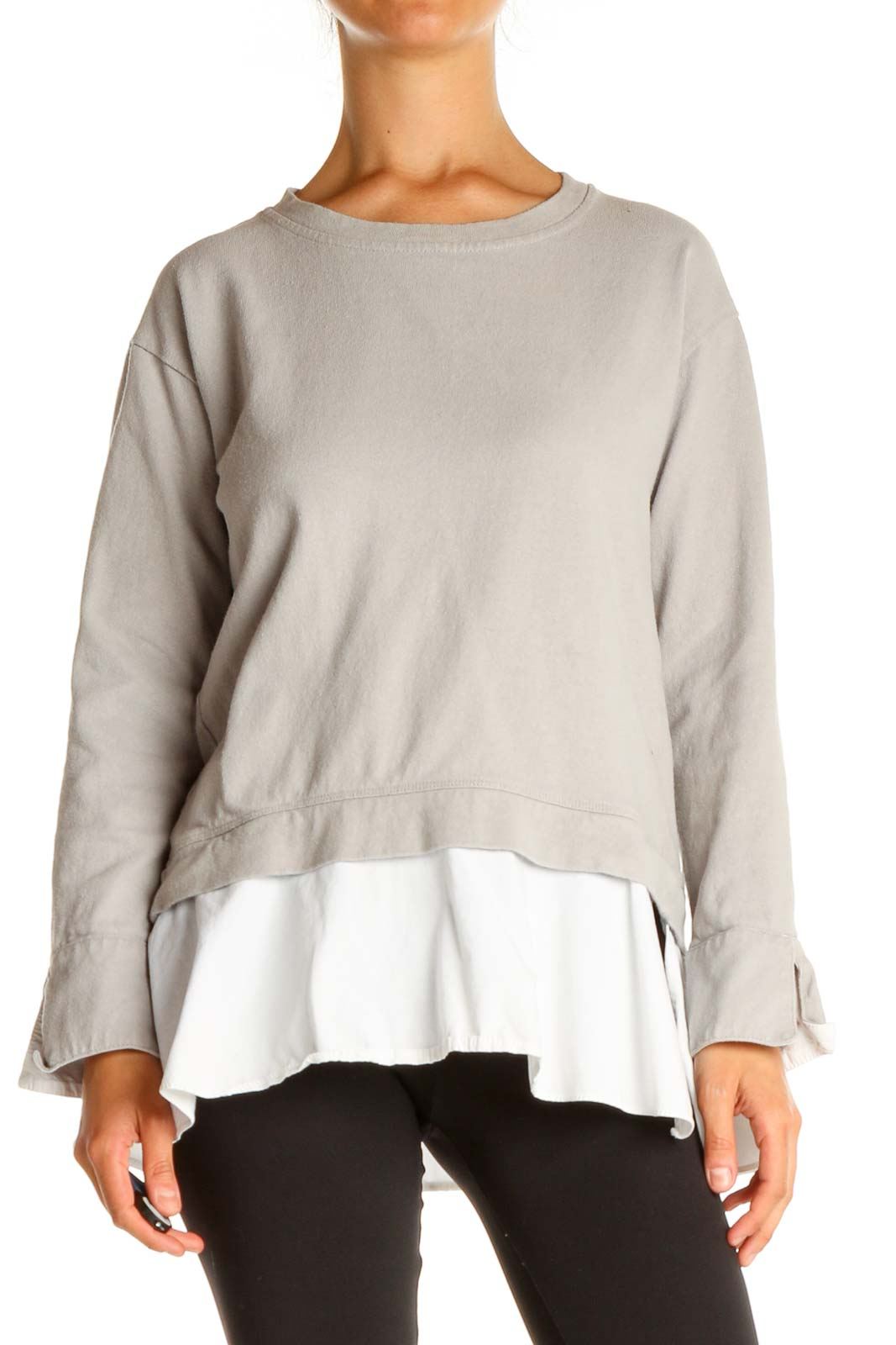 Gray Solid Classic Sweater Front