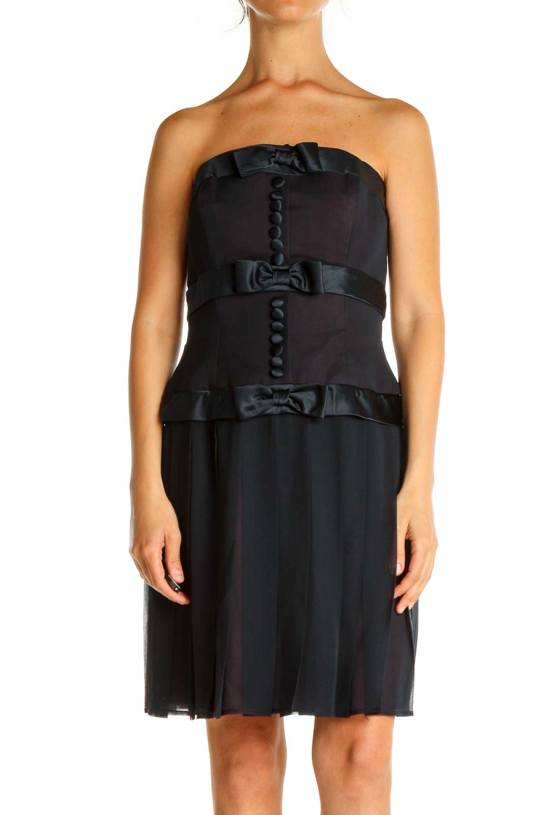 Black and Blue Solid Holiday Shift Dress Front