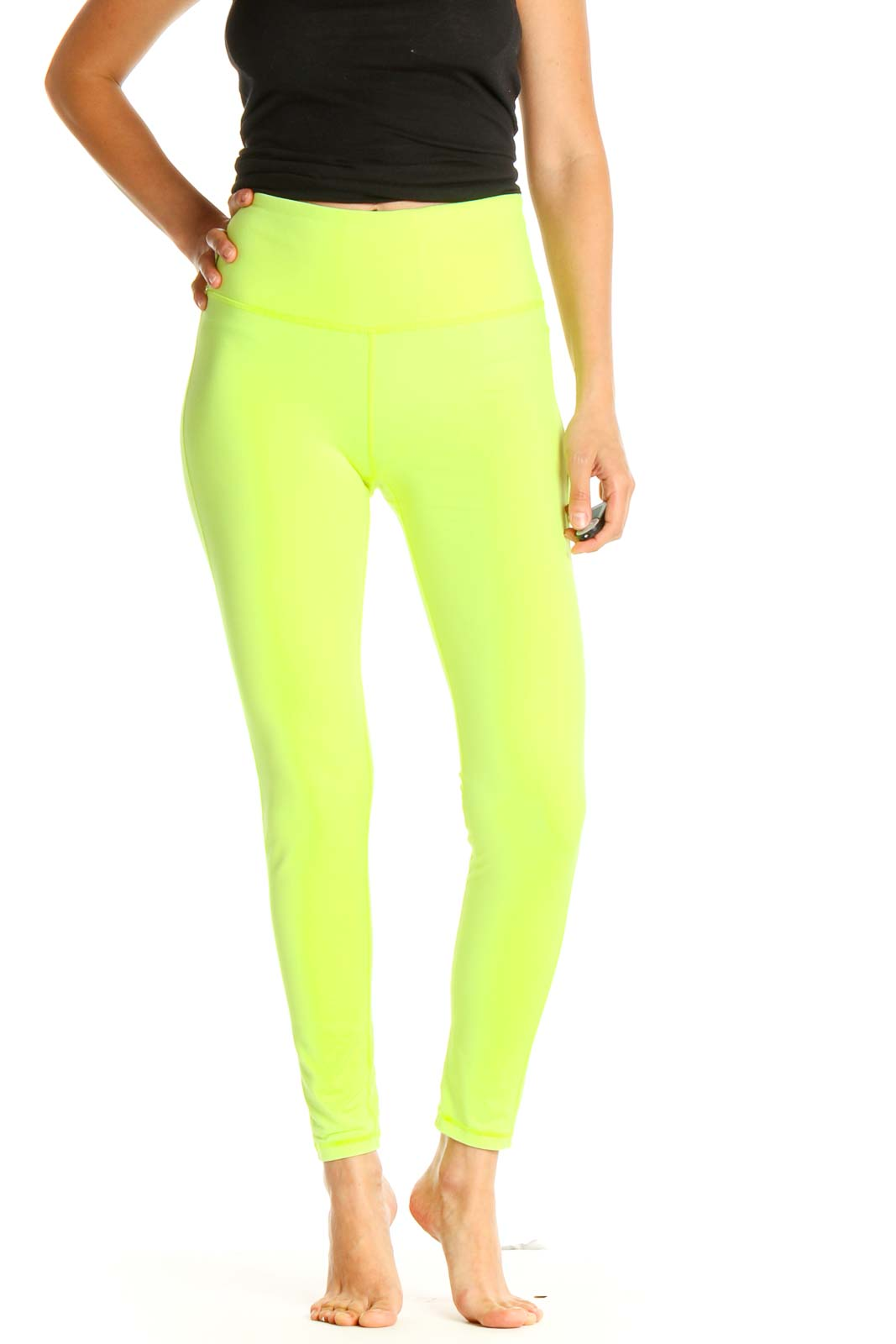 Green Solid Casual Leggings Front