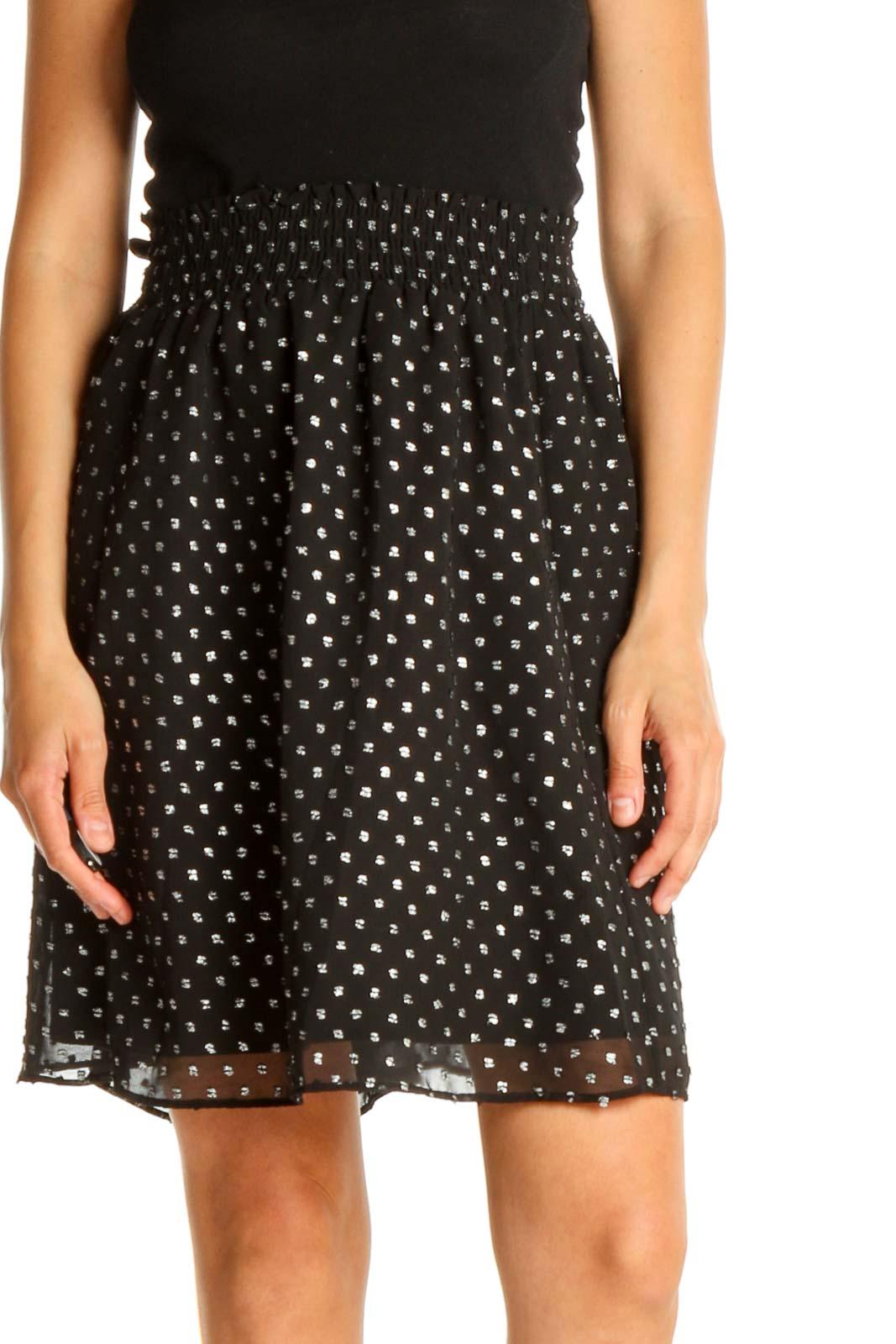 Black Polka Dot Retro A-Line Skirt Front