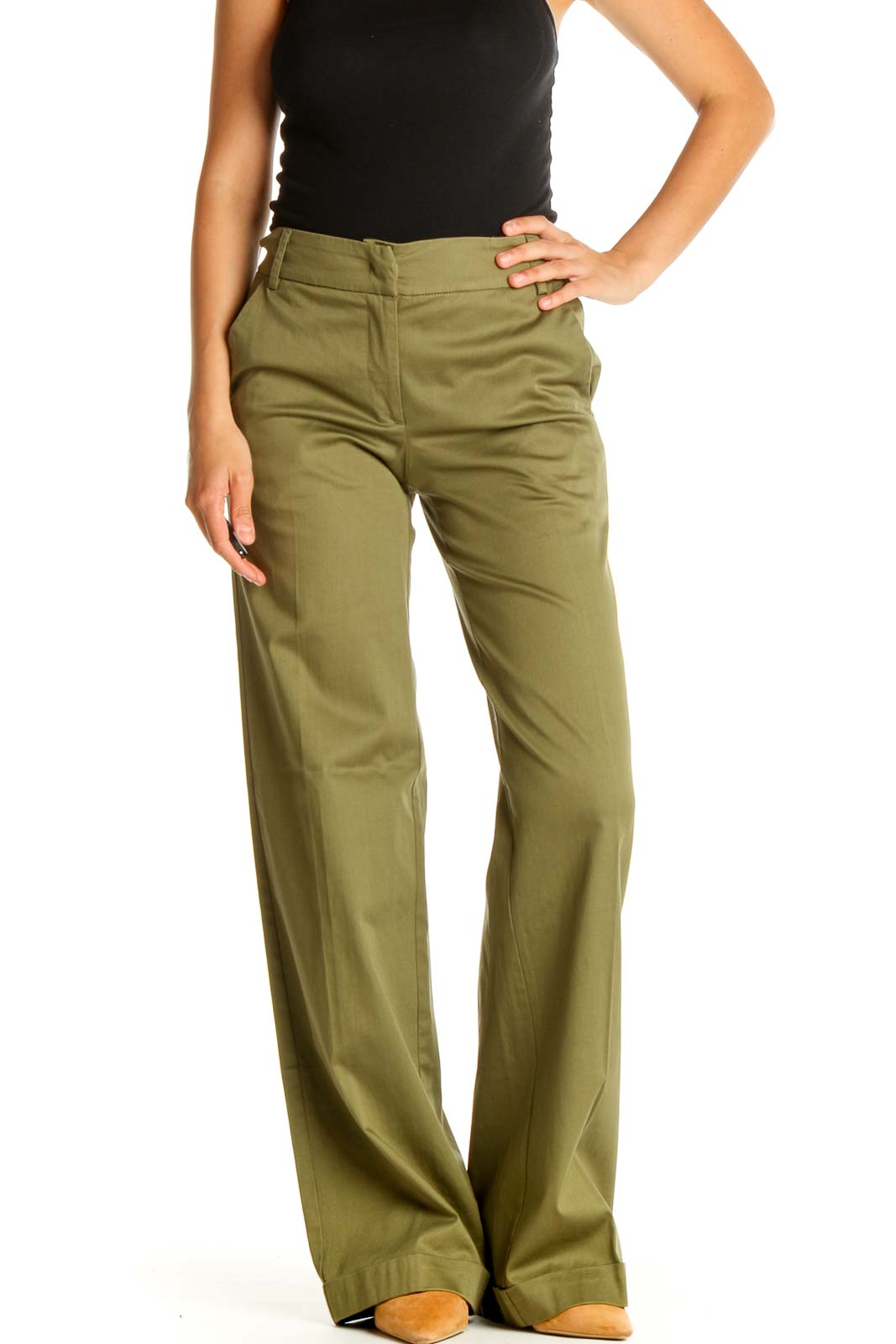 Green Solid Casual Pants Front