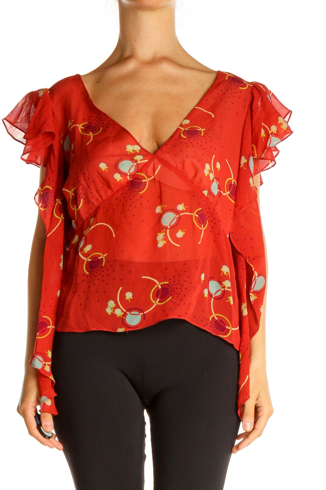 Red Floral Print Blouse Front