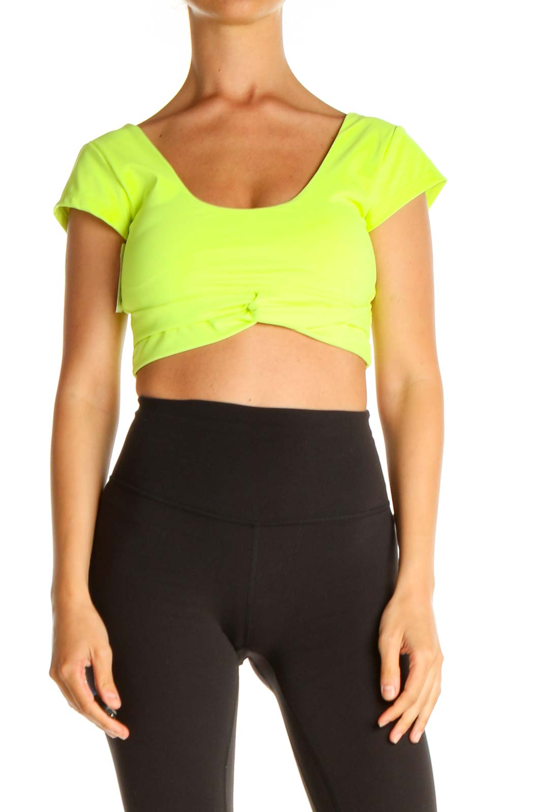 Green Solid Cropped Workout Top Front