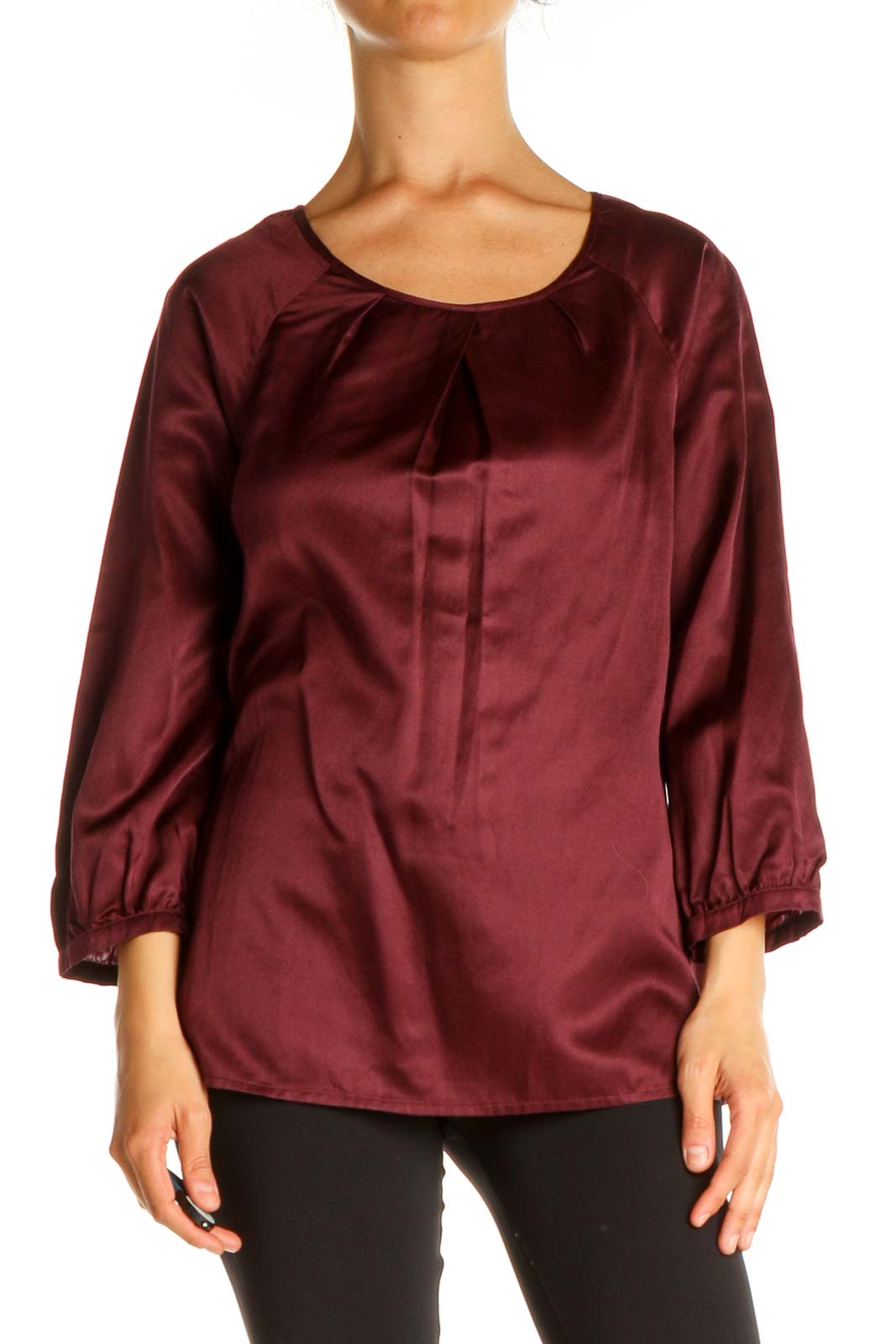 Red Solid Brunch Blouse Front