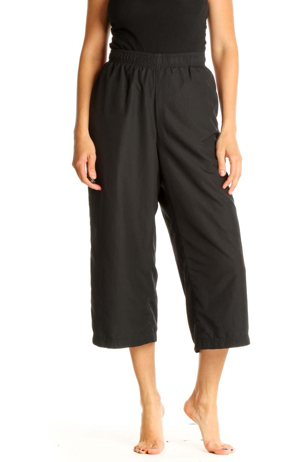 Black Solid Casual Activewear Pants Front