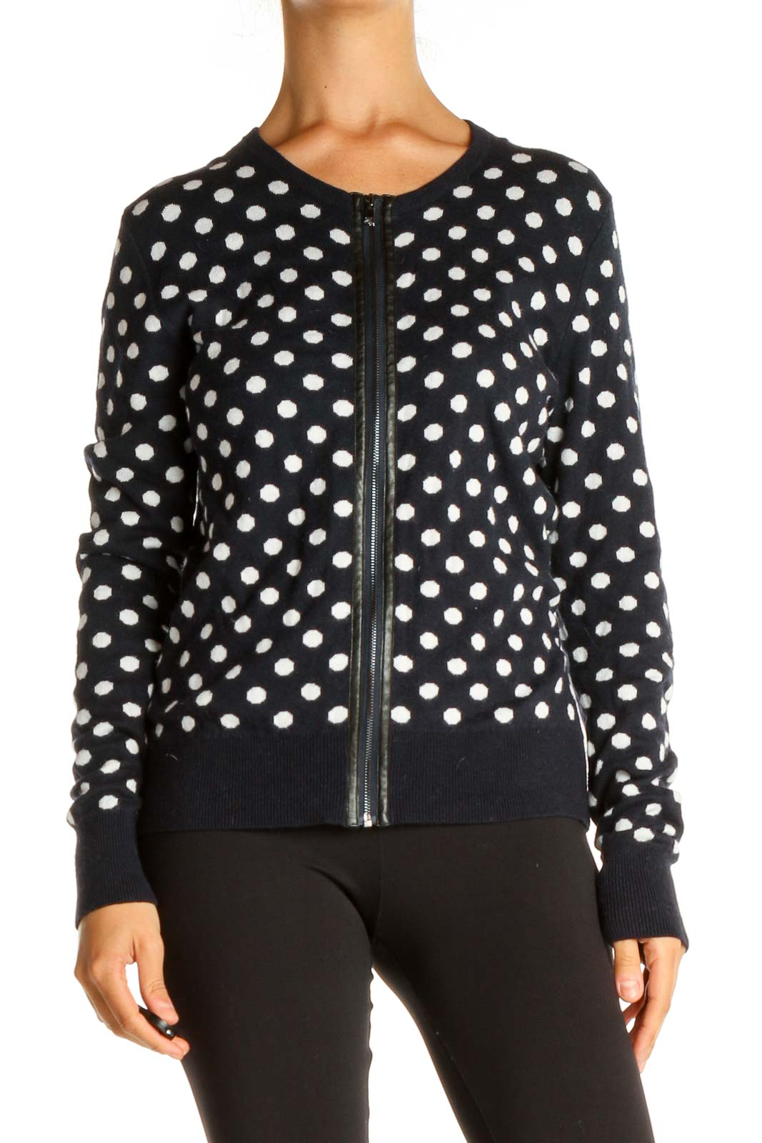 Blue Polka Dot All Day Wear Sweater Front