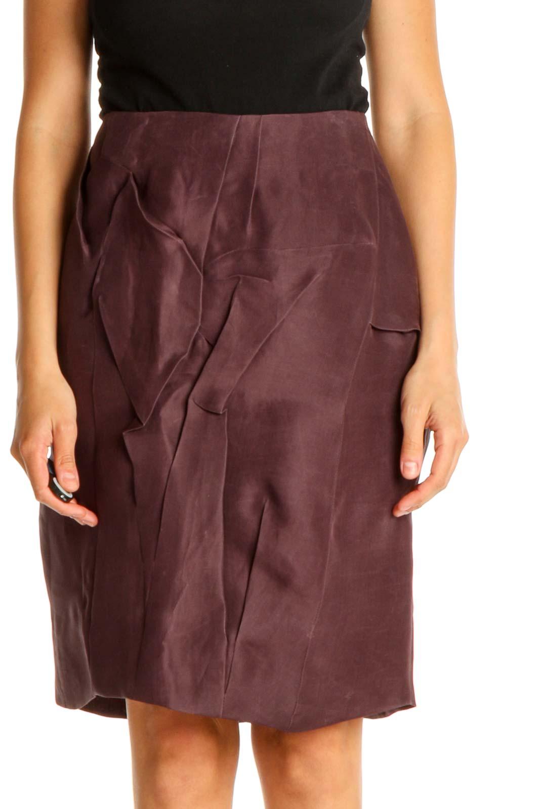 Purple Solid Brunch Pencil Skirt Front