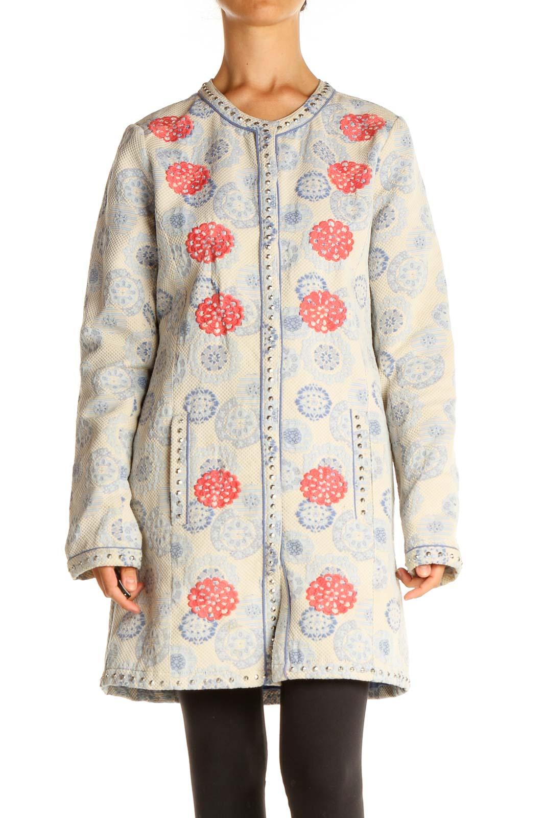 Beige Blue Overcoat Front