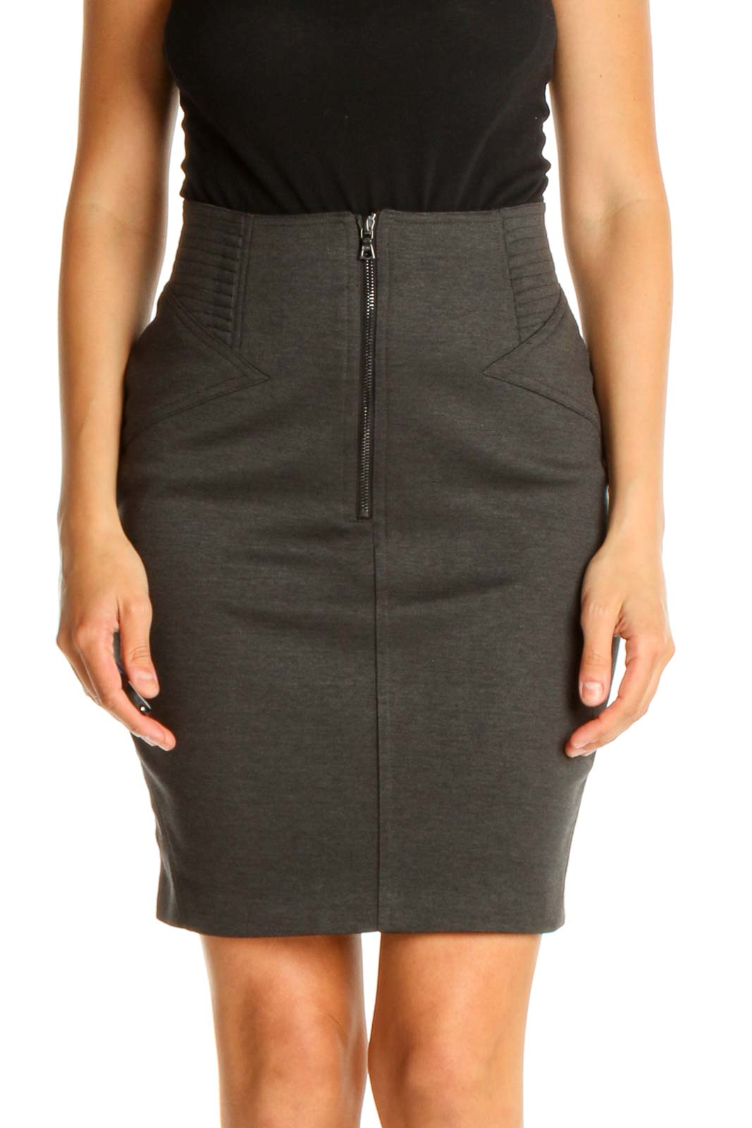 Gray Solid Classic Pencil Skirt Front