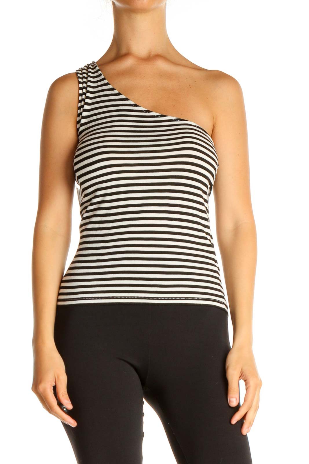 Beige Striped All Day Wear Tank Top Front