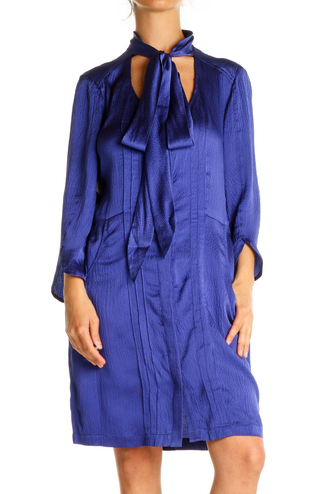 Blue Solid Chic Shift Dress Front