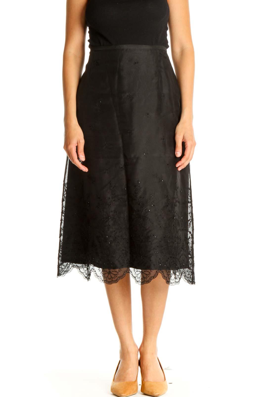 Black Sequin Retro A-Line Skirt Front