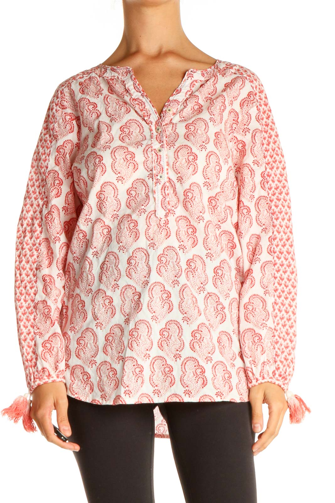 Red Printed All Day Wear Blouse Front