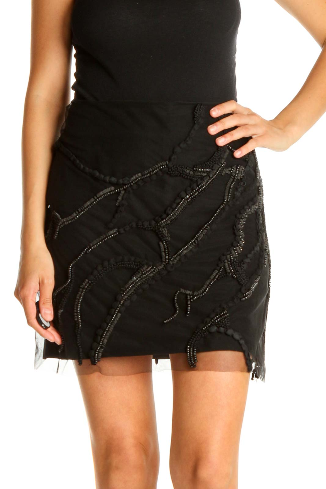 Black Textured Chic Pencil Skirt Front