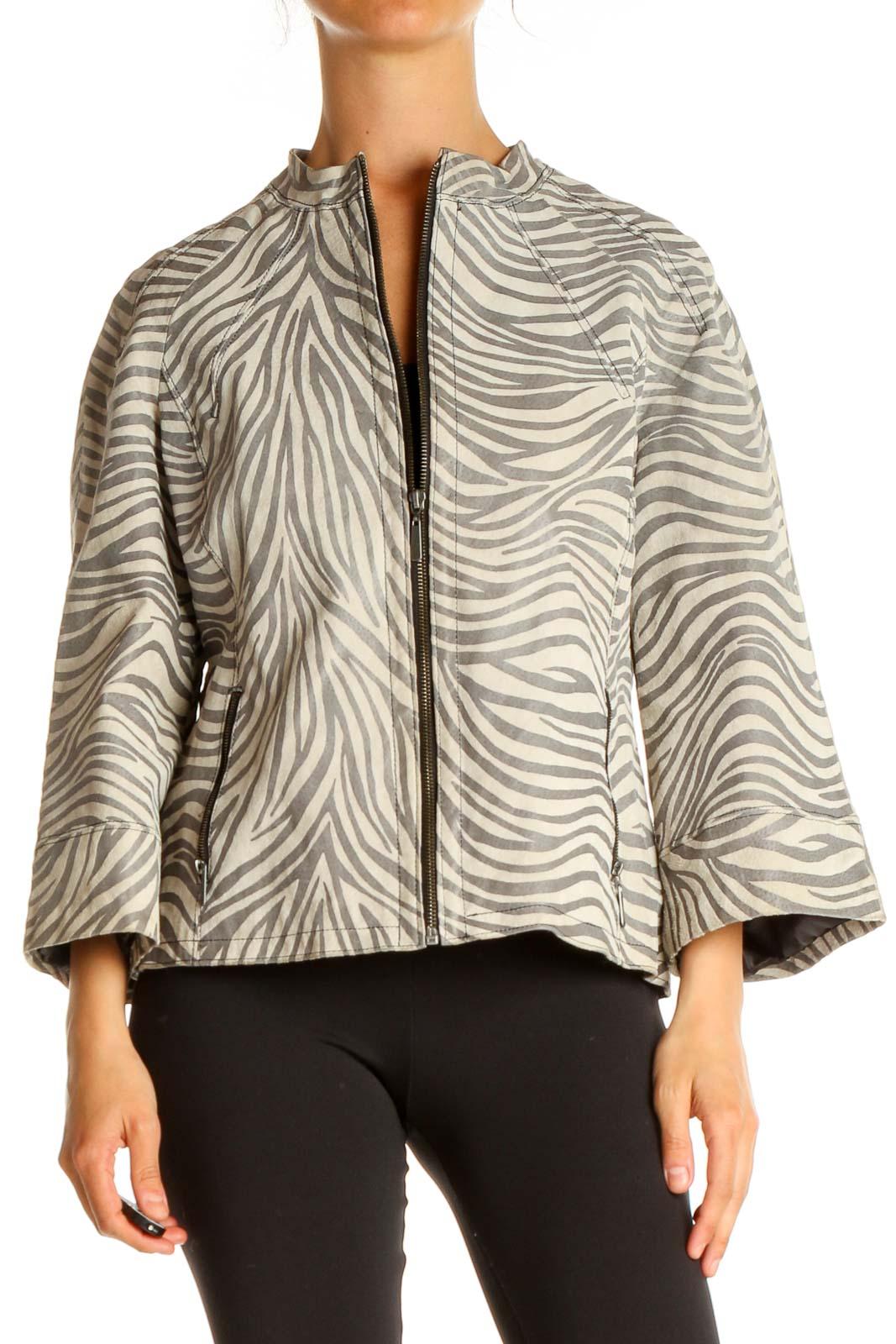 Beige Zebra Print Jacket Front