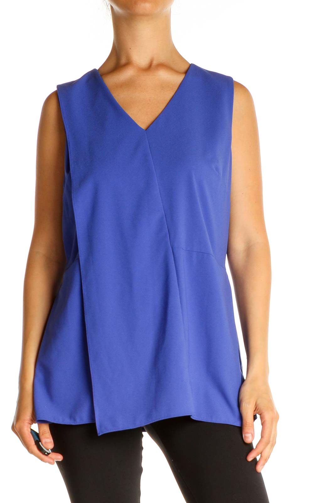 Blue Solid Work Blouse Front