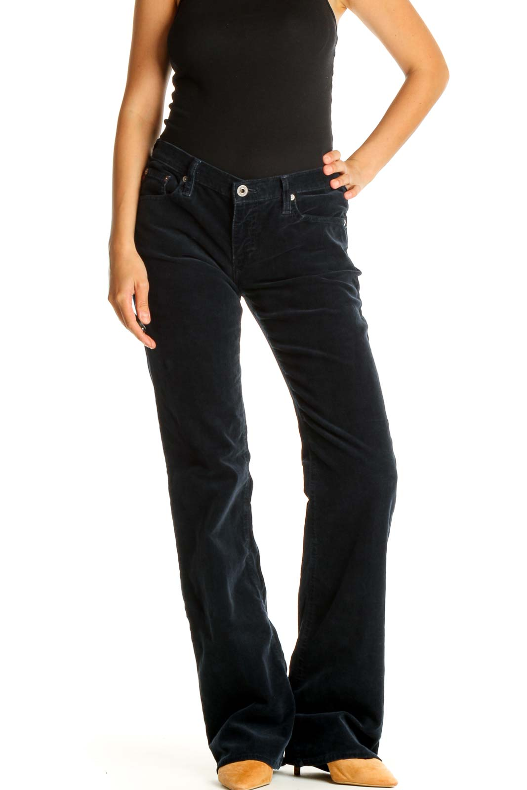Black Solid All Day Wear Pants Front