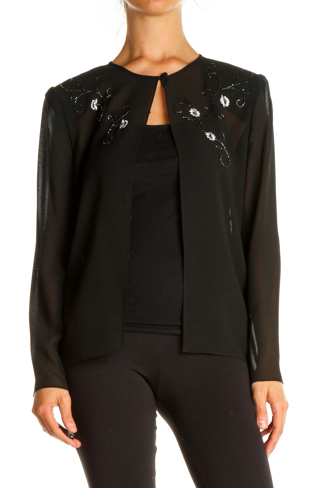 Black Sequin Cardigan Front