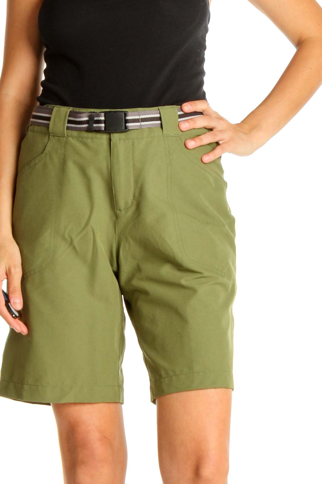 Green Solid All Day Wear Shorts Front