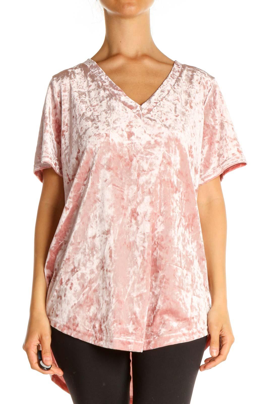 Pink Textured Brunch Blouse Front