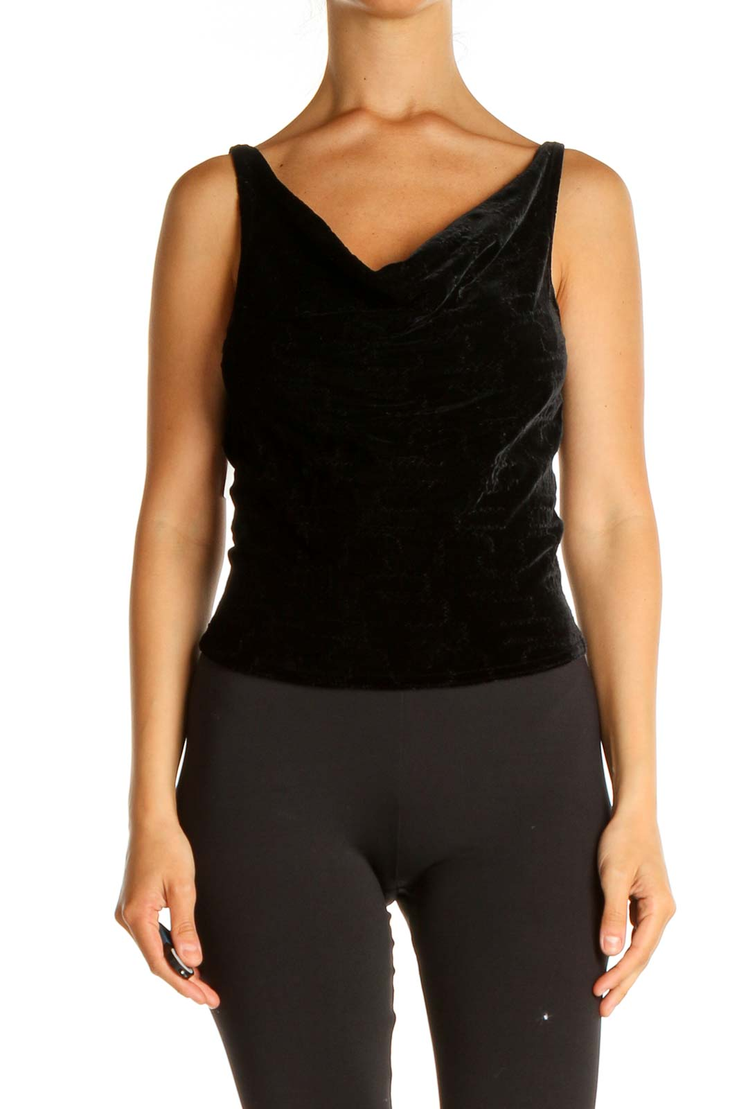 Black Textured Classic Tank Top Front