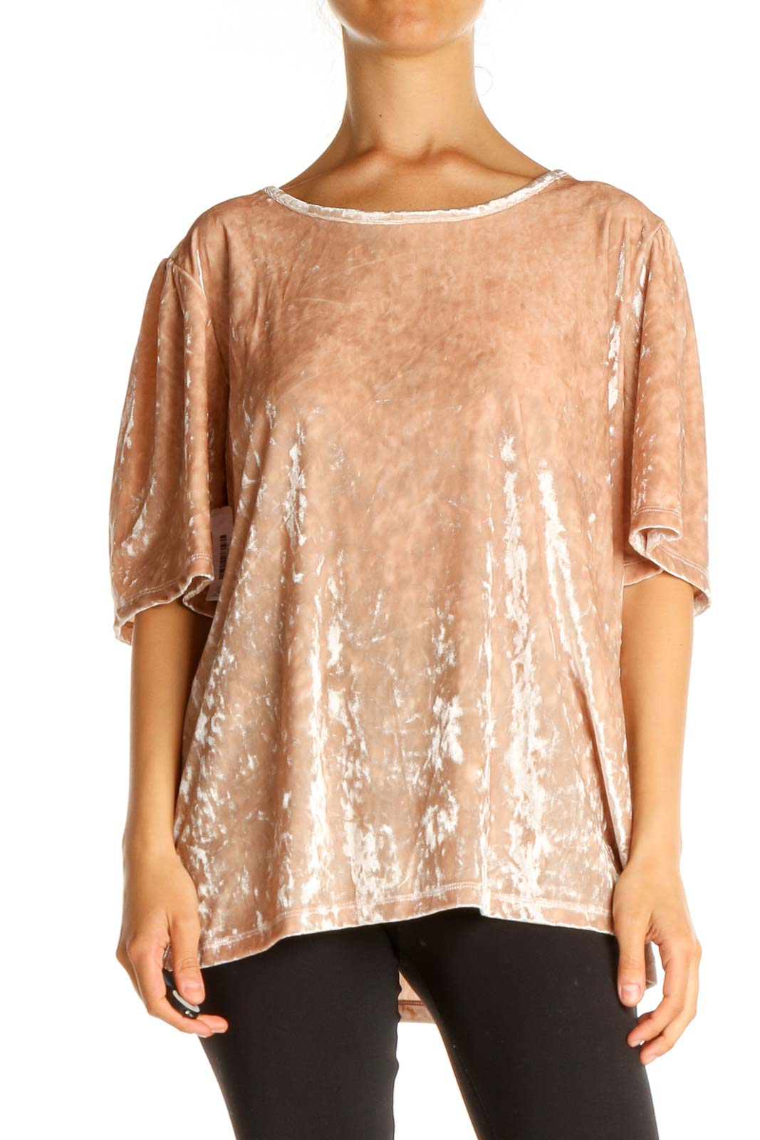 Pink Textured Casual T-Shirt Front