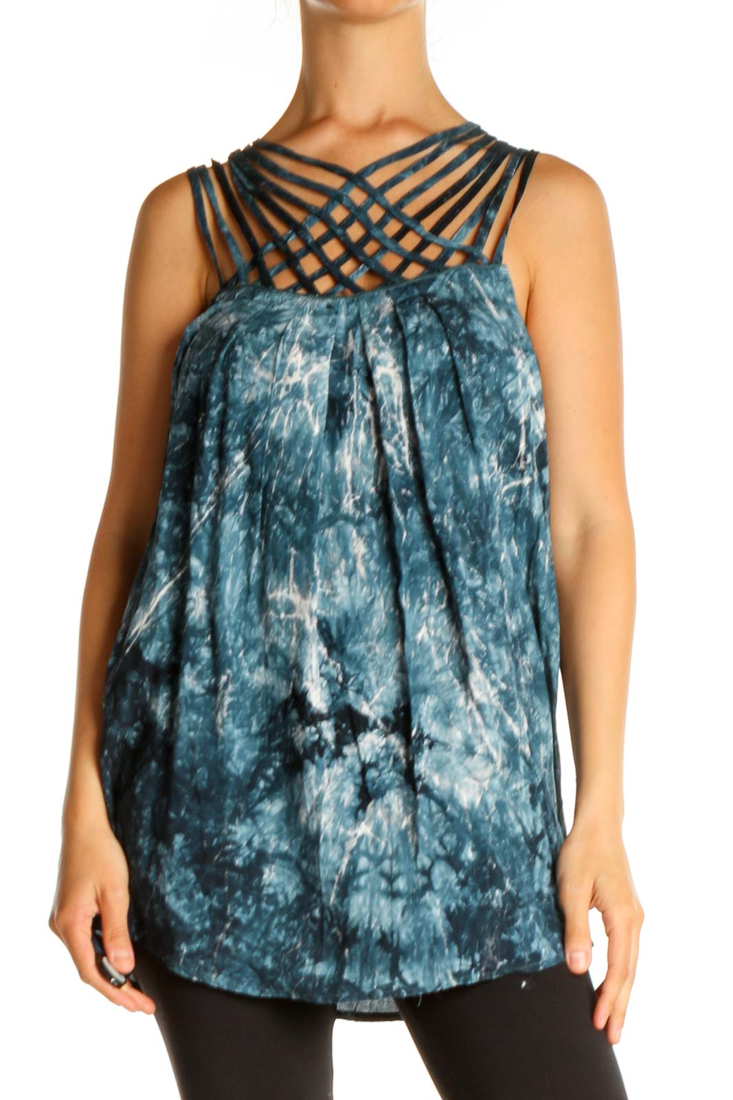 Blue Tie And Dye All Day Wear Blouse Front