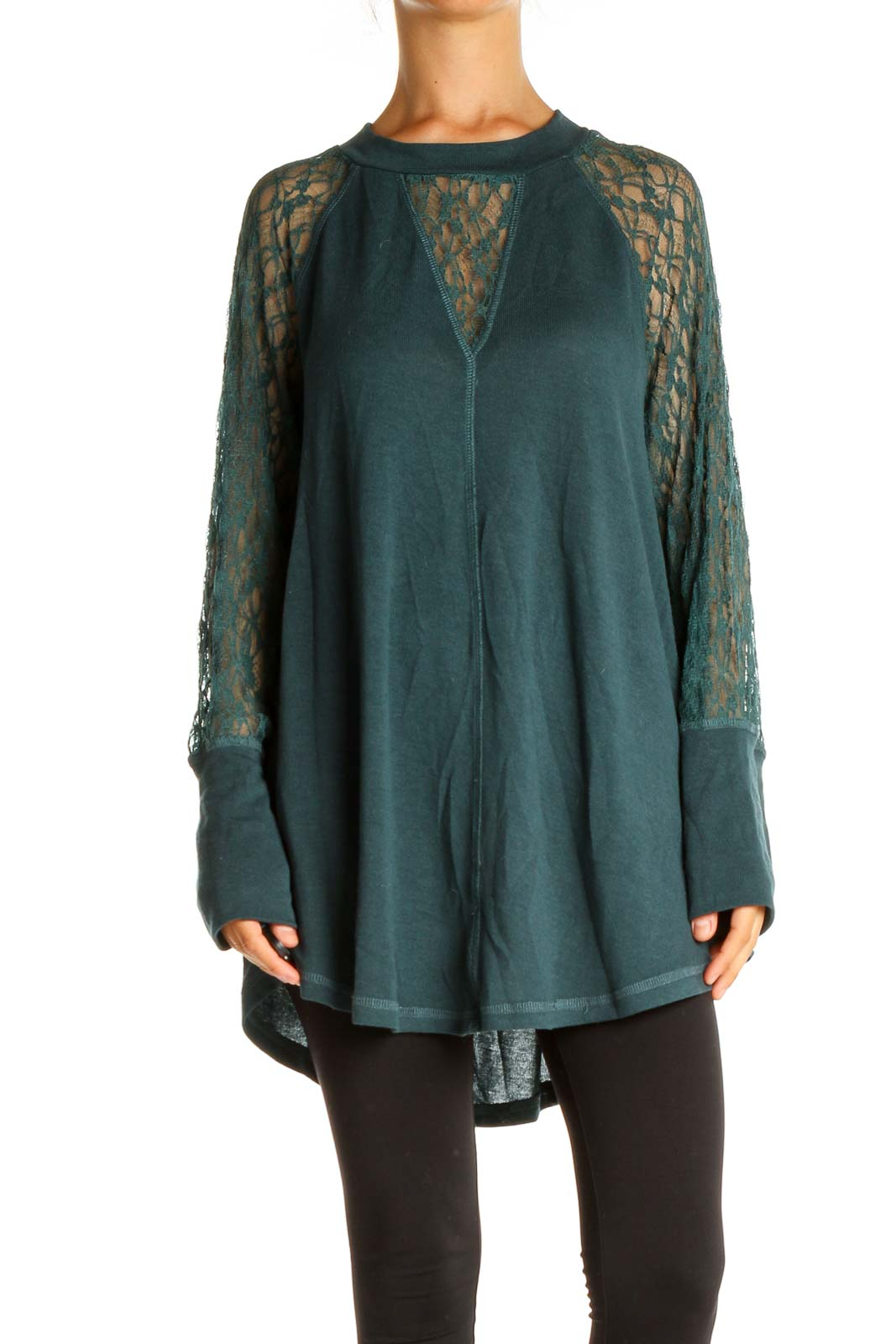 Green Lace Retro Blouse Front